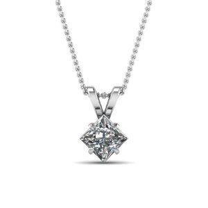 Jewelry - 1.5 Ct Solitaire Princess Cut Diamond Pendant 14k
